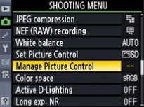 nikon color controls