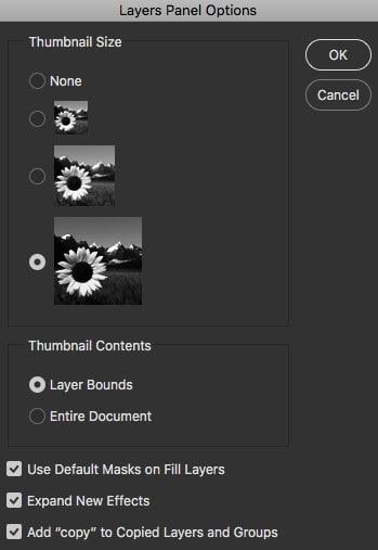 layer panel option