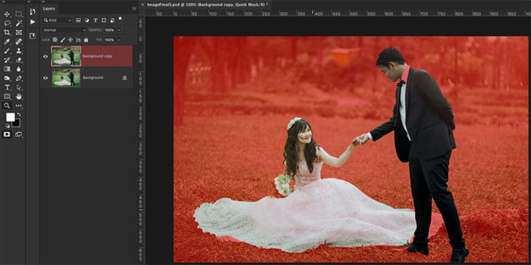 Red Overlay In Quick Mask Mode