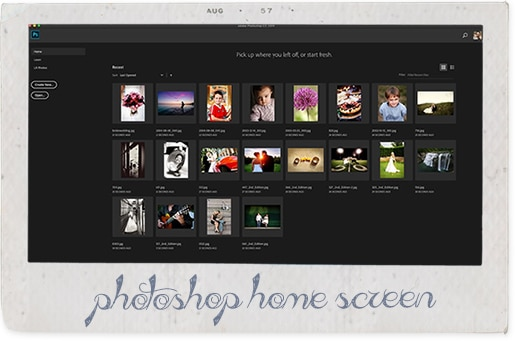 photoshop home screen