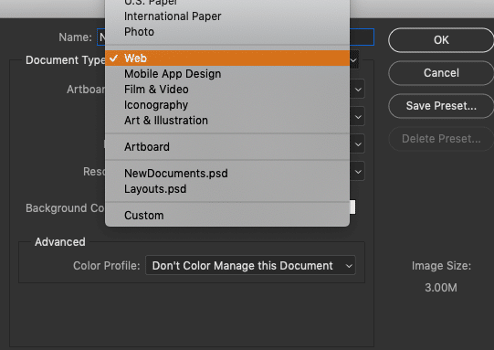 How to Create New Documents in Photoshop CC 23