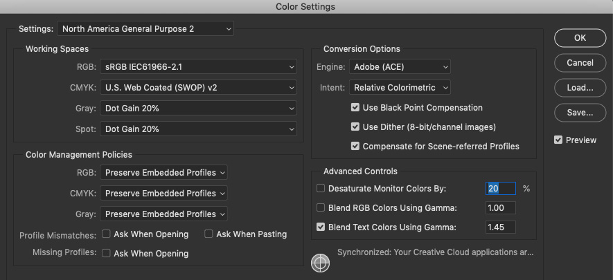 photoshop color settings