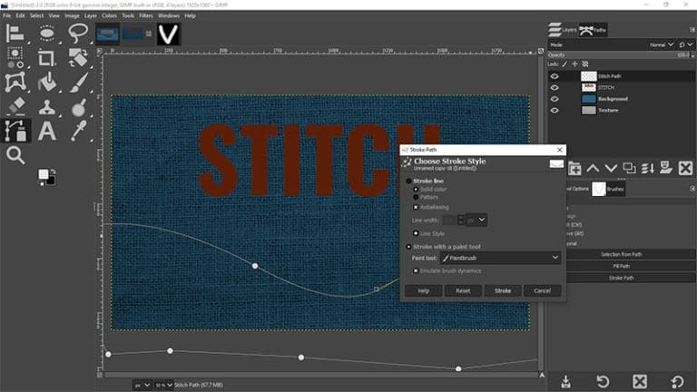 Stitch the path with your brush