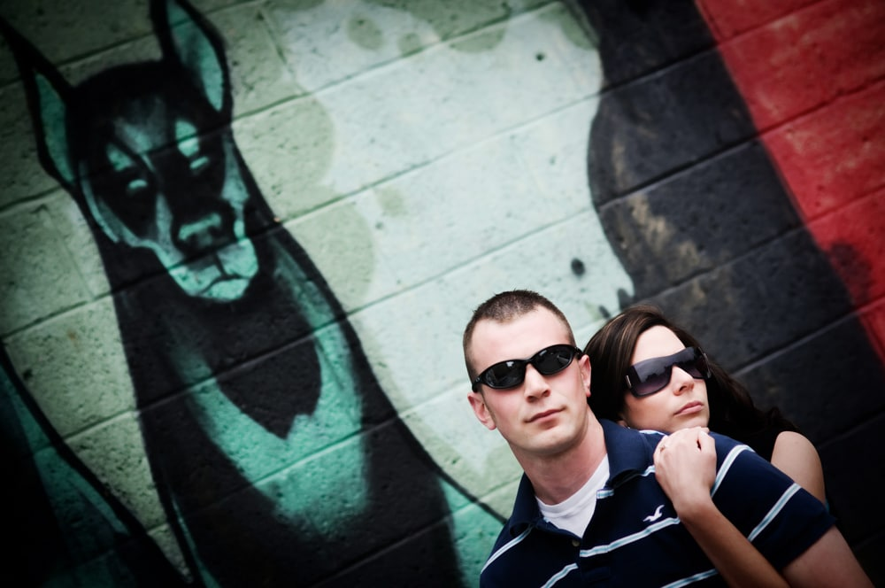 engagement photo with two different subjects