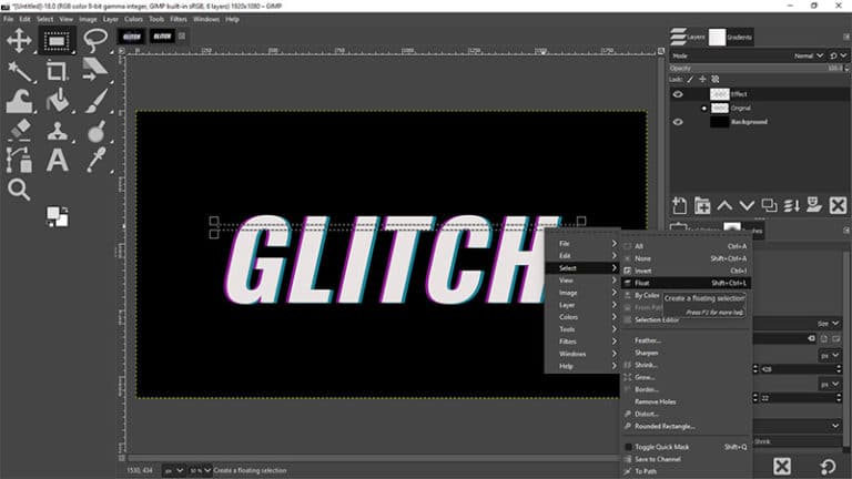 create the glitch effect