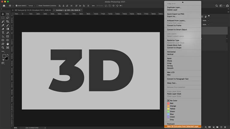 apply the 3d text effect