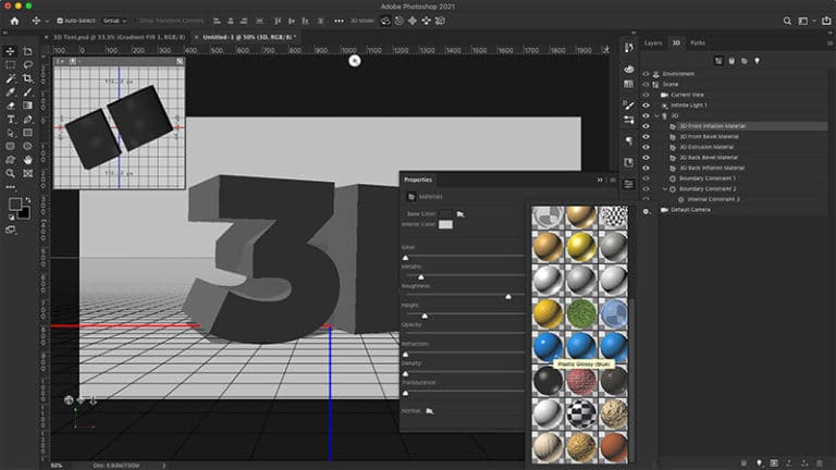 add texture to 3d text
