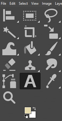 locate text tool in toolbar