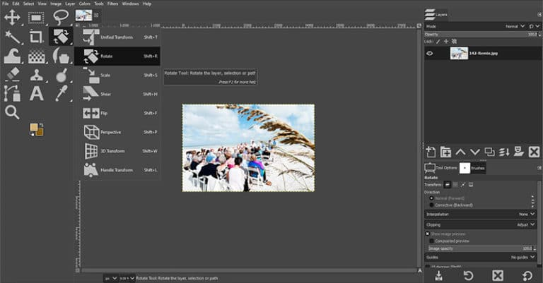 GIMP Rotate Tool