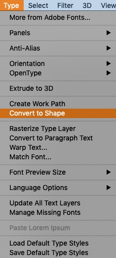 convert text layer to a shape