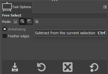 tool options to deselect